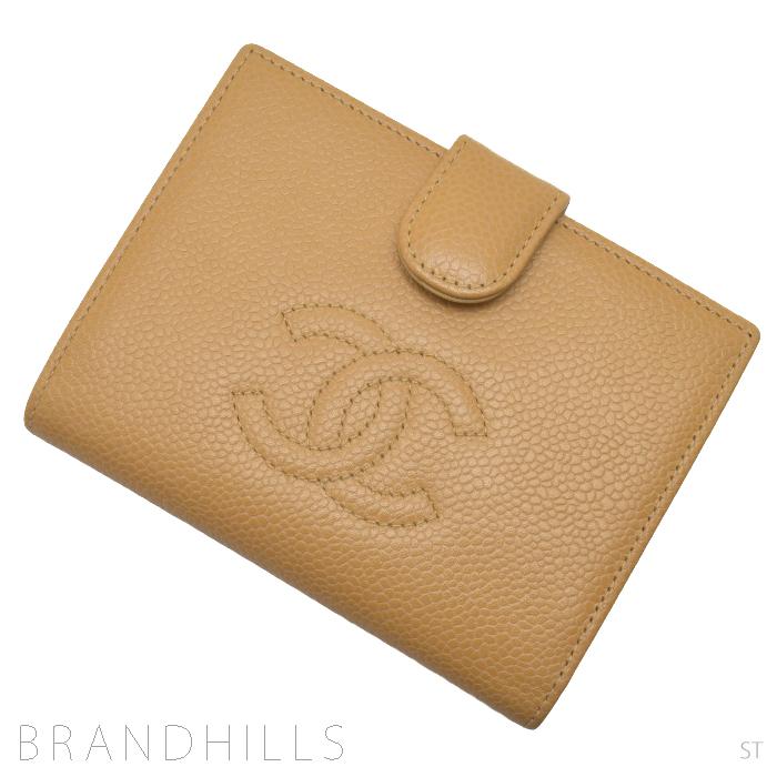 送料無料 シャネル 引出物 財布二つ折りがま口 キャビアスキン A13497 財布 レディース 中古 二つ折り AL完売しました。 ココマーク キャメル 美品 がま口 CHANEL