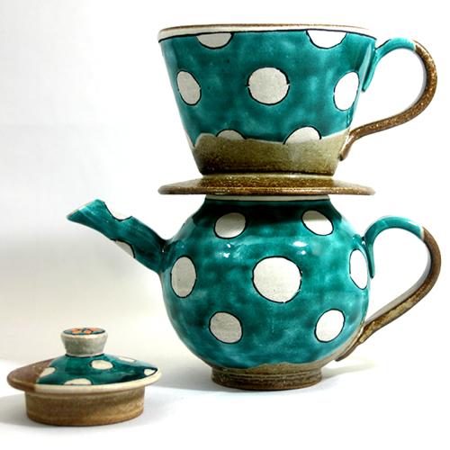 和(なごみ)窯 手造りポット&ドリッパー 青水玉