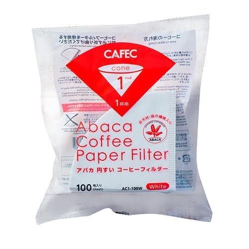 非木材パルプ原料 アバカ 麻 本物 の繊維入り 自然環境にも留意したペーパー CAFEC アバカ円すいコーヒーフィルター 100枚入 1杯用 特価品コーナー☆ White AC1-100W