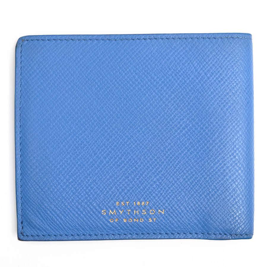 SMYTHSON 財布 スマイソン 6 Card Wallet 「PANAMA」コレクション クロスグレインレザー 二つ折り 小銭入れなし 札入れ 【中古】