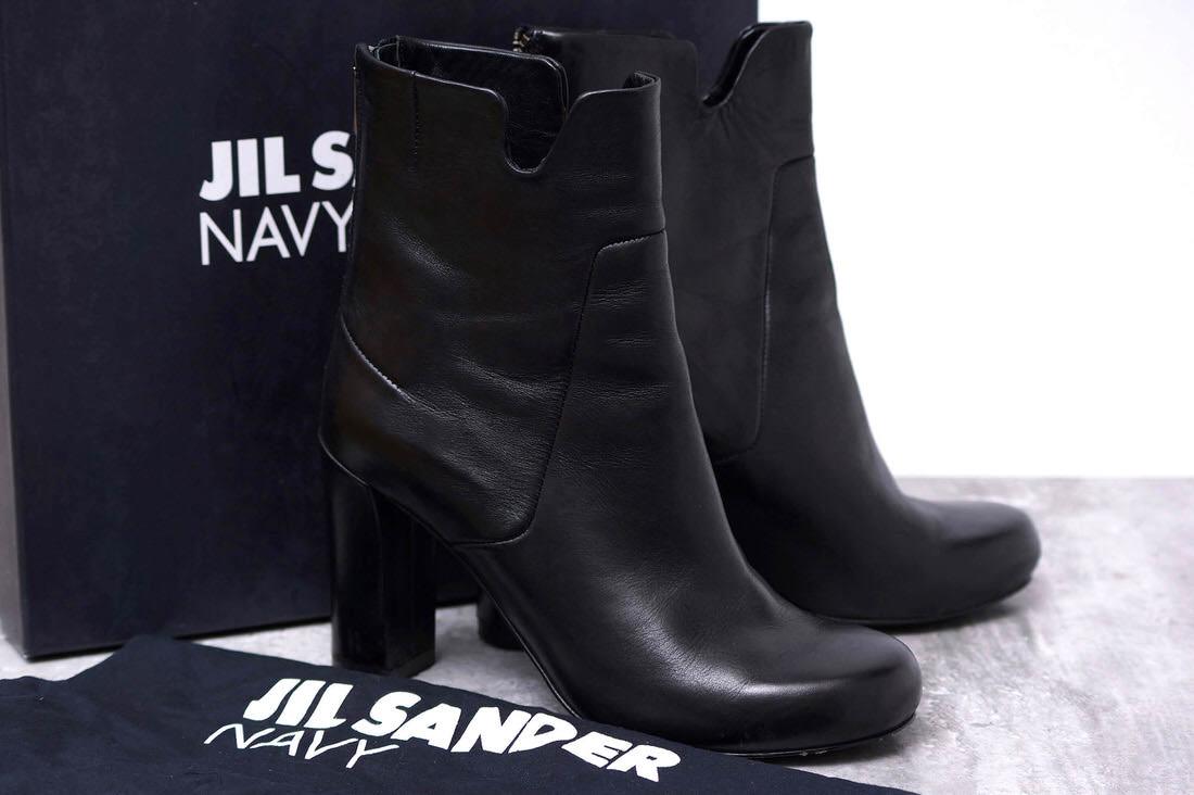 Jil Sander ブーツ ジルサンダー ネイビー NAVY バックジップブーツ ショートブーツ ミドルブーツ【中古】