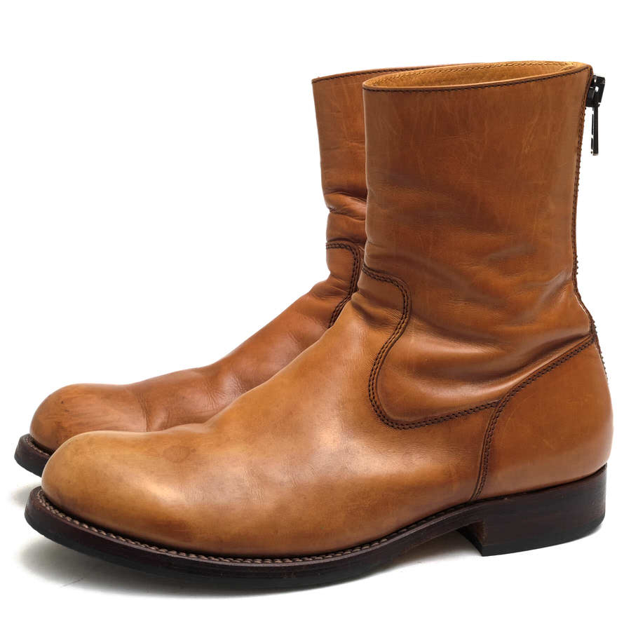 AKM バックジップブーツ エイケイエム 196 back zip boots italian cow leather TRAPPER  【中古】