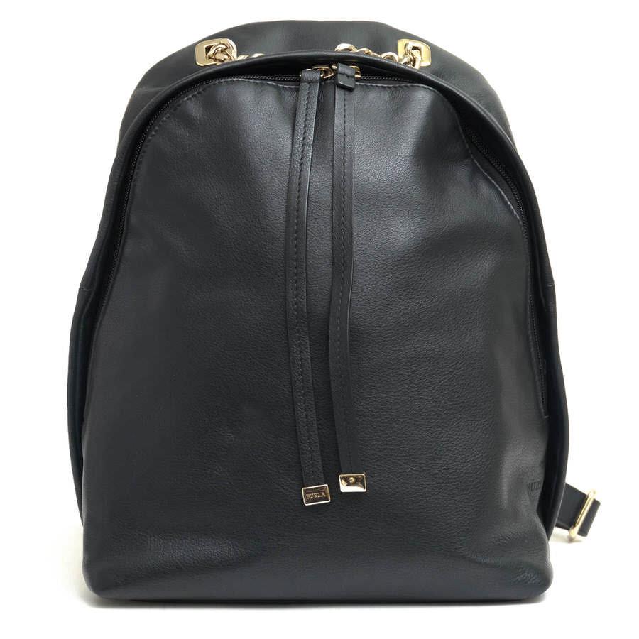 FURLA リュック フルラ Spy Bag Backpack スパイバッグ 牛革 カウレザー ゴールドチェーン 【中古】