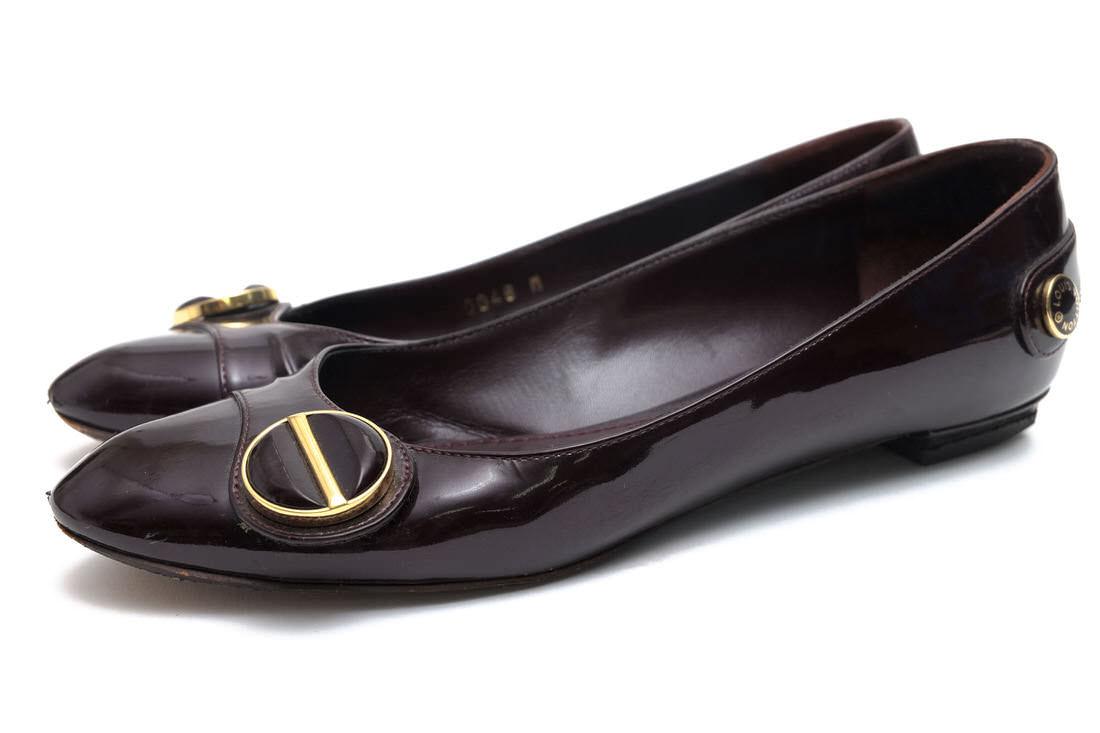 Louis Vuitton パンプス ヴィトン 牛革 フラットパンプス レザーソール モンクストラップ 【中古】
