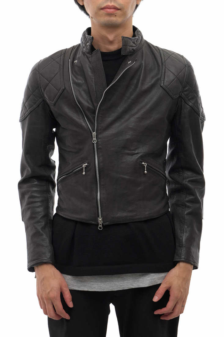 AG by EXPERIMENT シングルライダース エージーバイエクスペリメント 02-047-006 COW HIDE PATED RIDERS JACKET キルティング加工 【中古】