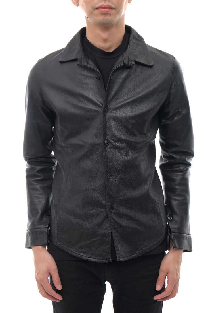 VADEL シャツ バデル SL003-WLC02 damaged wrinkle leather simple shirts  ウォッシュ加工 【中古】
