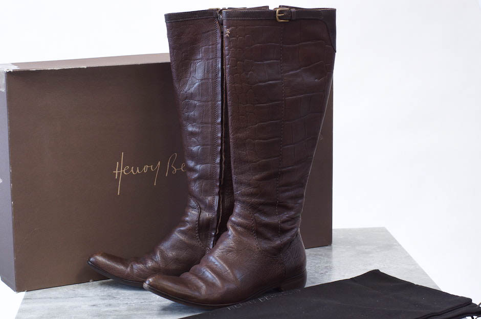 HENRY BEGUELIN ブーツ エンリーベグリン オミノ刺繍 サイドジップ ロングブーツ クロコ型押し【中古】