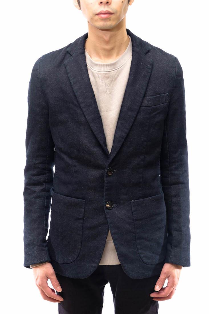 1piu1uguale3 テーラードジャケット ウノ ピゥ ウノ ウグァーレ トレ MRB045 new wave jacket スウェットデニム生地 シングルブレスト デニム 【中古】