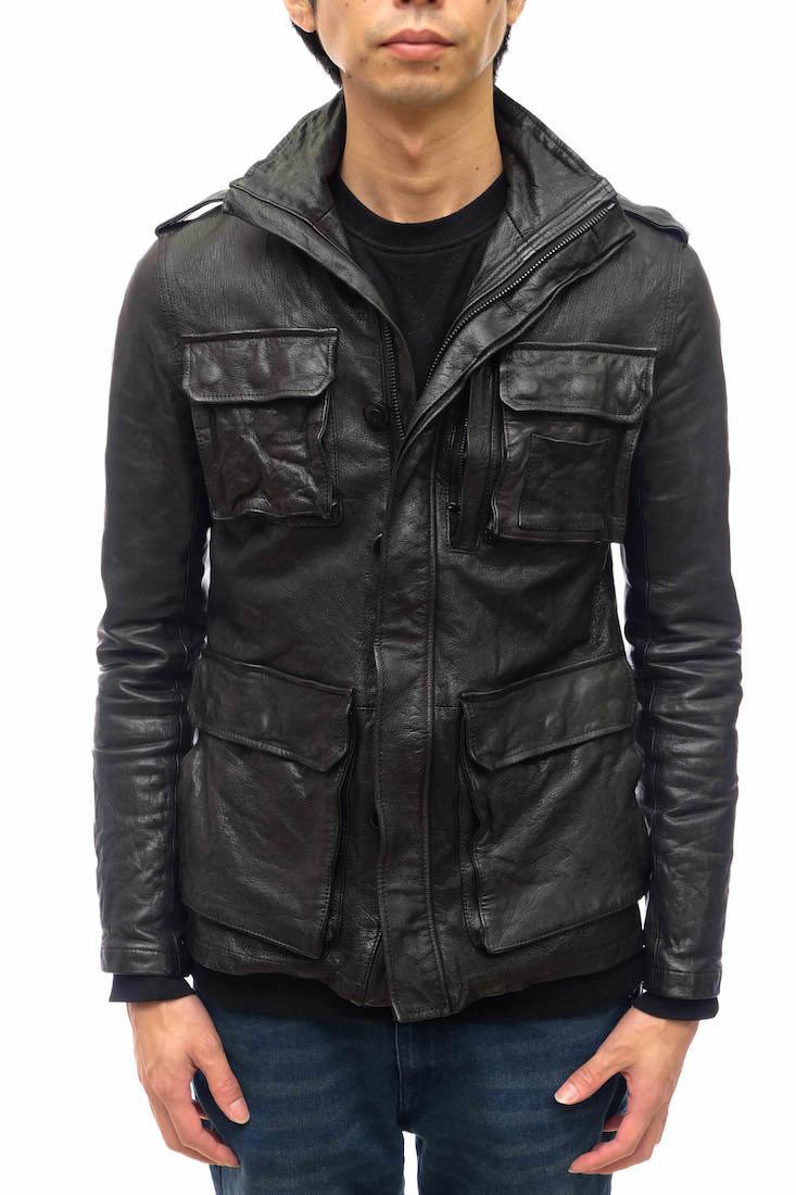 AKM フィールドジャケット エイケイエム A006 GT01 SAFARI LEATHER JACKET 山羊革 サファリジャケット M-65 ウォッシュ加工 【中古】