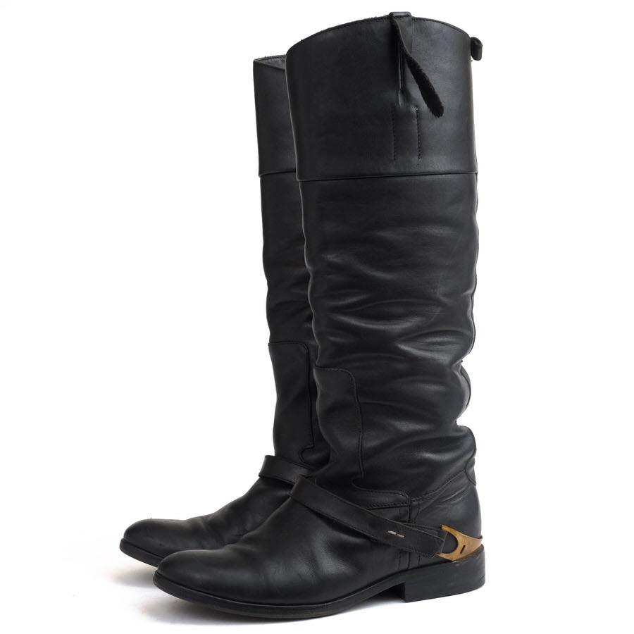 Golden Goose ロングブーツ ゴールデングース Charlye leather knee-high boots ニーハイブーツ 乗馬ブーツ ジョッキーブーツ ヴィンテージ加工 【中古】