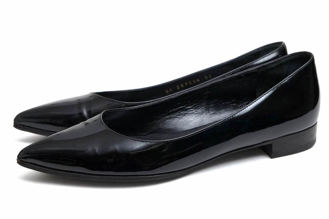 YVES SAINT LAURENT パンプス サンローラン BA359226 Patent Leather Ballet Flats 牛革 フラットパンプス 【中古】