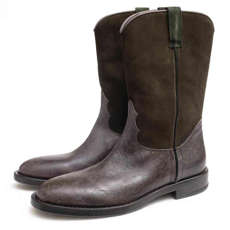 BUTTERO ブッテロ/ウエスタンブーツ/boots/shoe/靴 ウエスタンブーツ B1175 ローパーブーツ DALLAS ダラス ペイズリー柄 【中古】【BUTTERO】