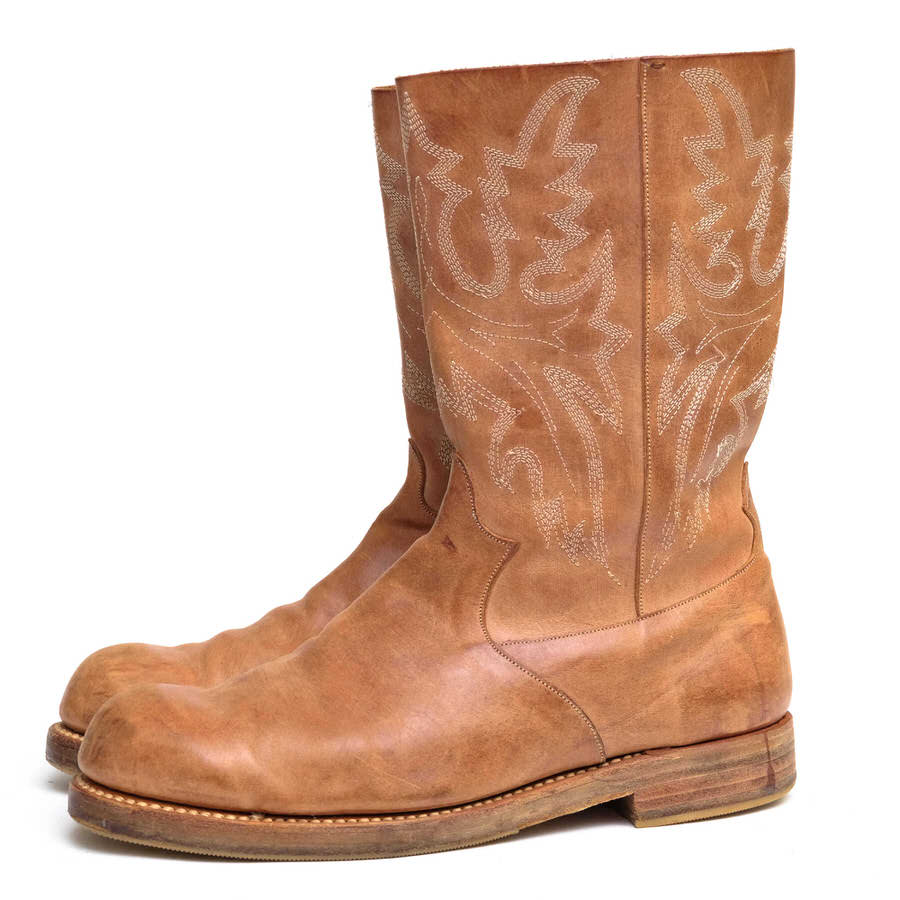 foot the coacher フットザコーチャー/ウエスタンブーツ/boots/shoe/靴 ウエスタンブーツ WESTERN TYPE BOOTS natural 【中古】【foot the coacher】