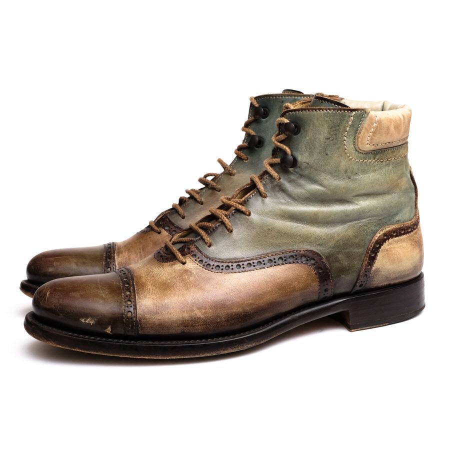FRANCESCO BENIGNO フランチェスコべニーニョ/レースアップブーツ/boots/shoe/靴 レースアップブーツ パティーヌ仕上げ 【中古】【FRANCESCO BENIGNO】