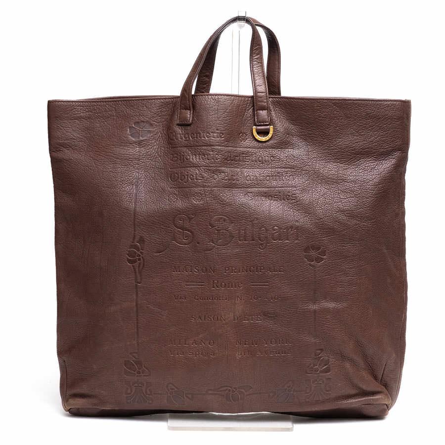 BVLGARI ブルガリ/鞄 トートバッグ シボ革 シュリンクレザー ユニセックス 【中古】【BVLGARI】