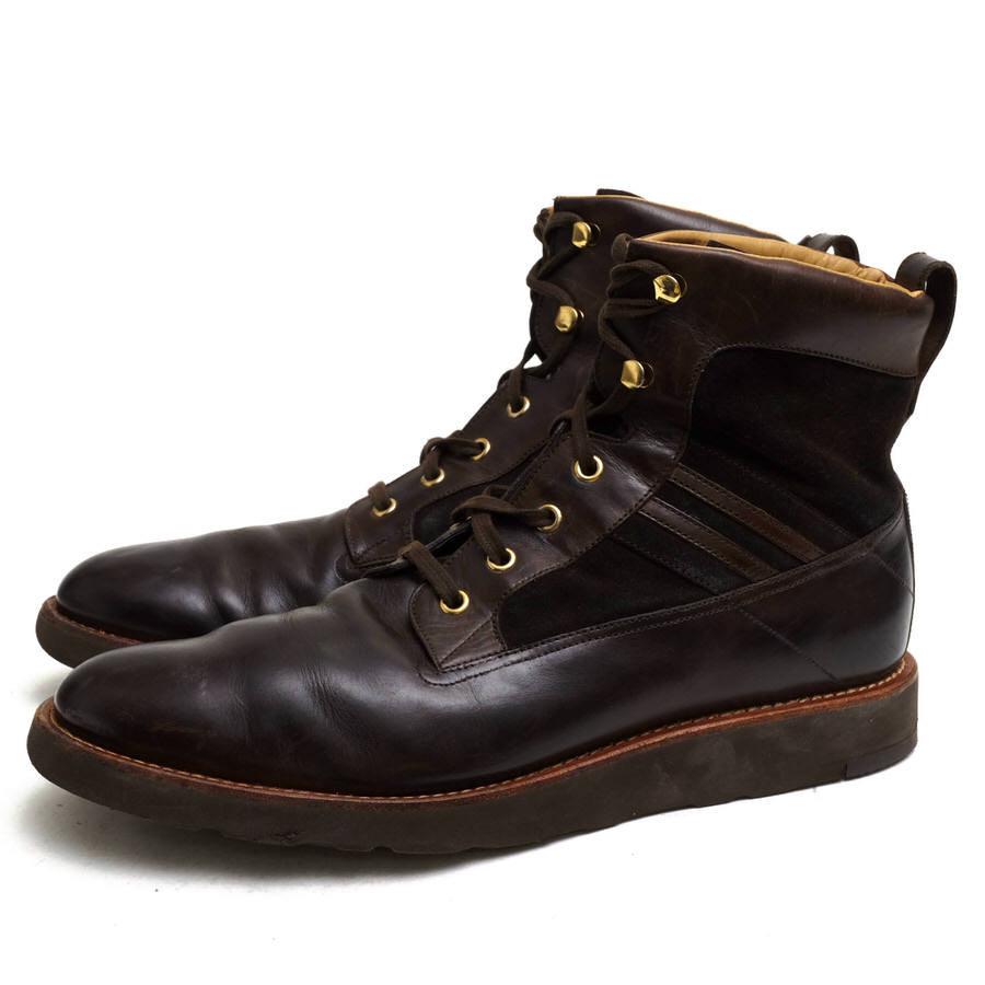 バリー BALLY レースアップブーツ シューズ 靴 メンズ 男性 男性用 スエード 休日 スウェード レザー VADREL ダークブラウン Vibramソール ブラウン 有名な 牛革 革 スイス 本革 茶 中古