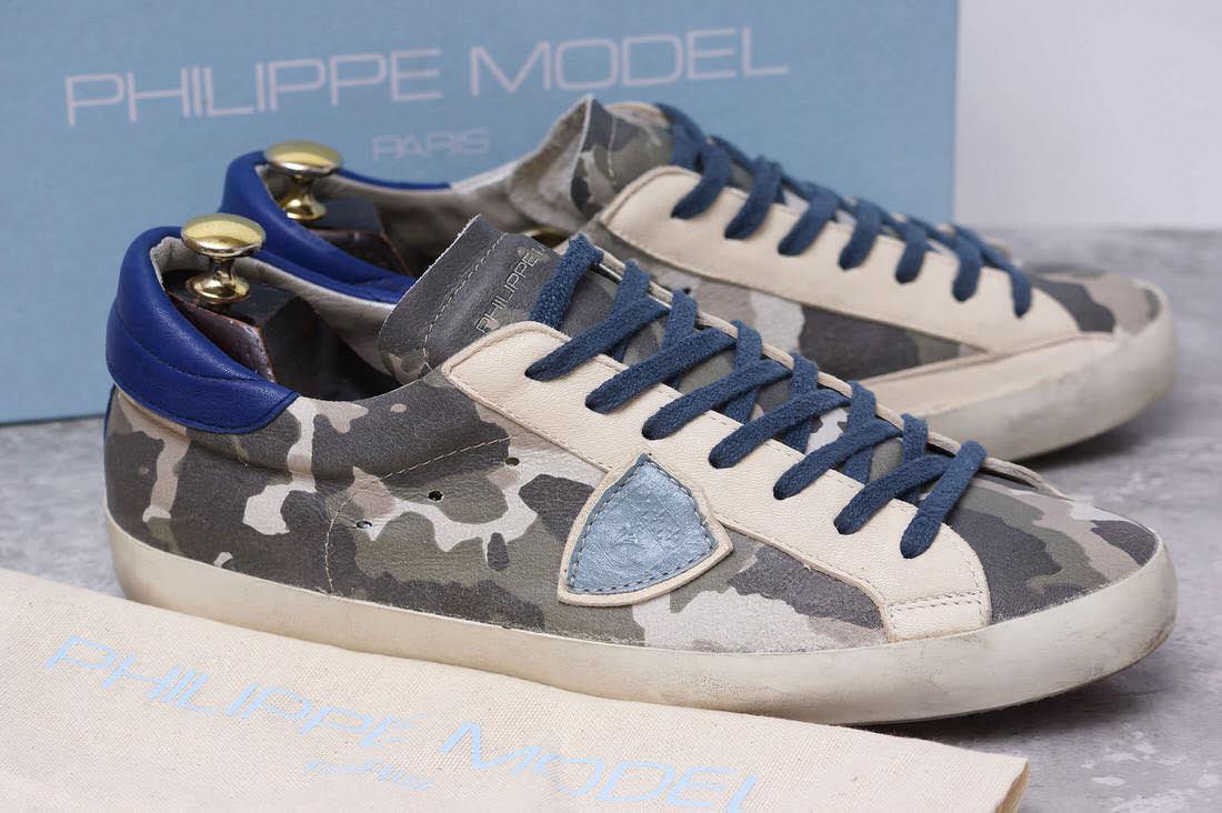 PHILIPPE MODEL フィリップ モデル/sneaker/shoe/靴 スニーカー ヴィンテージ加工 CLASSIC B U CAMOUFLAGE CLLU CF04 43 カモフラージュ柄 迷彩 【中古】【PHILIPPE MODEL】