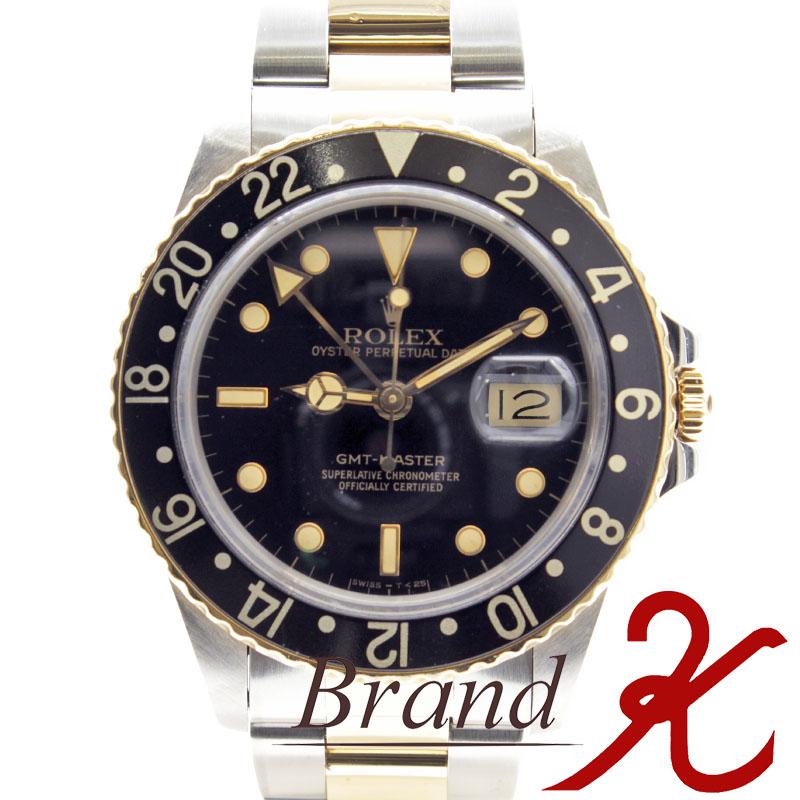 浦上店【ROLEX/ロレックス】GMTマスター/GMT Master16753 8番 黒文字盤 SS メンズ腕時計  ブラック ベゼル 黒OH・磨き仕上げ済み、アンティーク ヴィンテージ【中古】【送料無料】