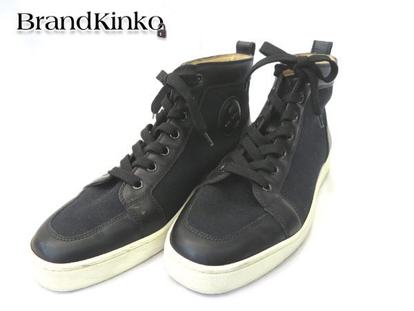 クリスチャンルブタン ハイカットスニーカー キャンバス ブラック 表記サイズ41 1/2 メンズ 靴 ◆【中古】