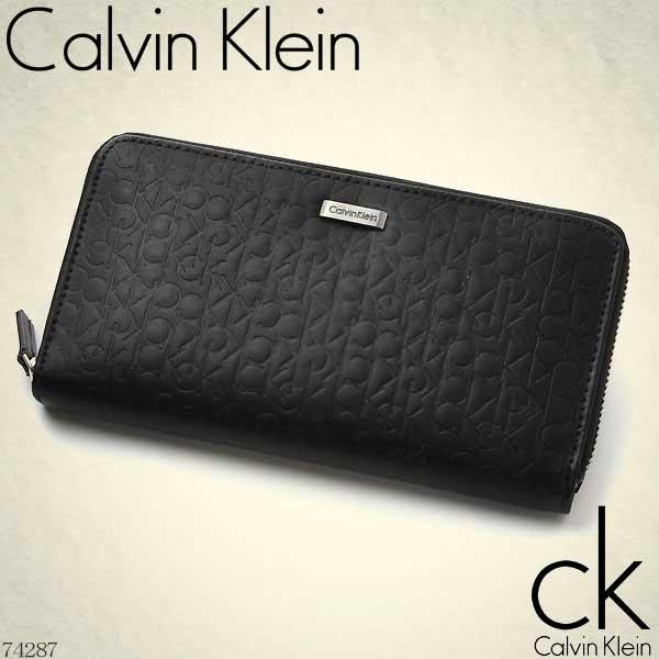 カルバンクライン Calvin Klein ラウンドファスナー長財布 ブラック ロゴ型押し ロゴプレート 74287【Luxury Brand Selection】