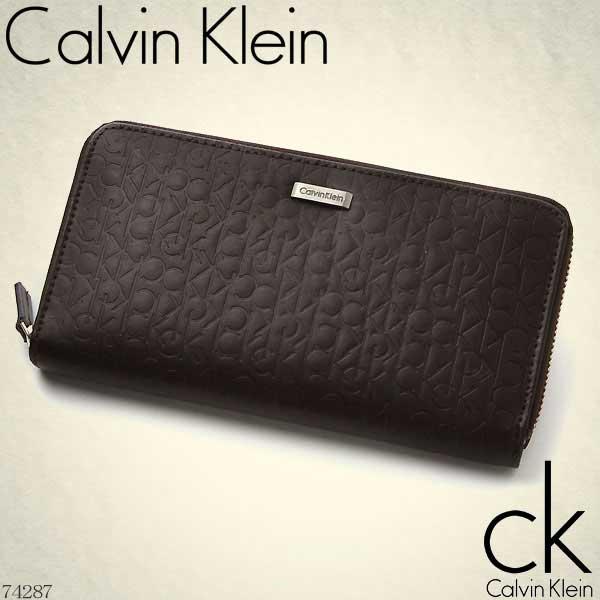 カルバンクライン Calvin Klein ラウンドファスナー長財布 ダークブラウン ロゴ型押し ロゴプレート 74287【Luxury Brand Selection】