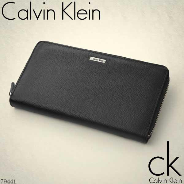カルバンクライン Calvin Klein ラウンドファスナー長財布 ブラック ロゴプレート 79441【Luxury Brand Selection】