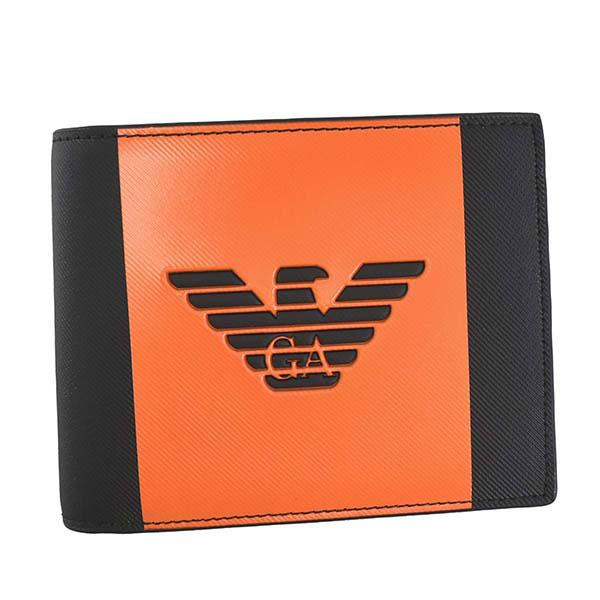 エンポリオ アルマーニ EMPORIO ARMANI 二つ折り財布 ブラック×オレンジ イーグルロゴ型押し Y4R165 YFE6J 84254【ウォレット 短財布 レザー】【Luxury Brand Selection】