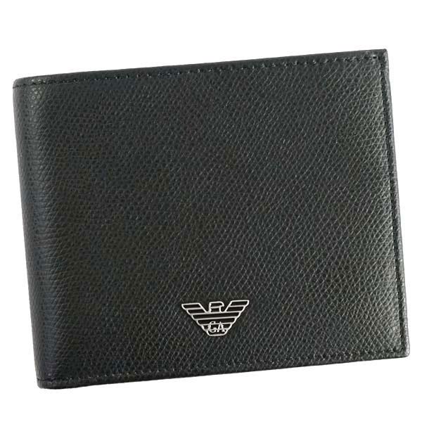 エンポリオ アルマーニ EMPORIO ARMANI 二つ折り財布 ブラック YEM122 YAQ2E 81072【ウォレット 短財布 レザー】【Luxury Brand Selection】【U】