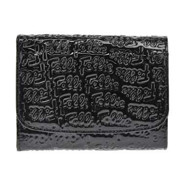 フォリフォリ Folli Follie 二つ折り財布 パテント ブラック WA0L026SK【2~3営業日以内の発送】【フォリフォリ財布】【Luxury Brand Selection】