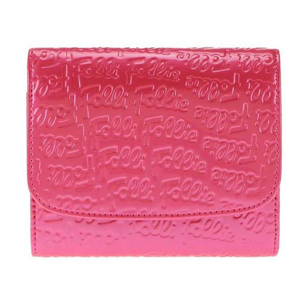 フォリフォリ Folli Follie 二つ折り財布 パテント ピンク WA0L026SP【2~3営業日以内の発送】【フォリフォリ財布】【Luxury Brand Selection】