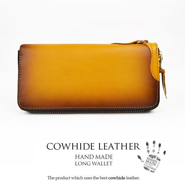 4fd2014868e2 ハンドメイド HAND MADE ラウンドファスナー長財布 イエロー こがし加工 ヌメ革 HM-11【ウォレット レザー 牛革 本革】【Luxury  Brand Selection】-メンズ財布 。