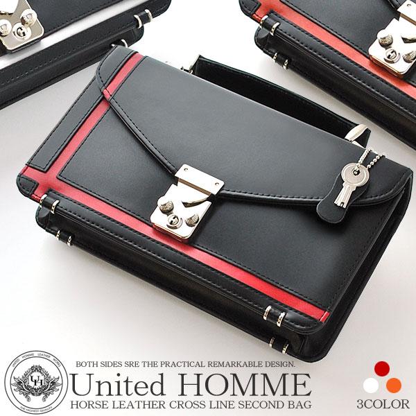 United HOMME ユナイテッドオム セカンドバッグ ブラック クロスライン UH-2462【メンズ 男性 クラッチ 馬革 レザー】【Luxury Brand Selection】