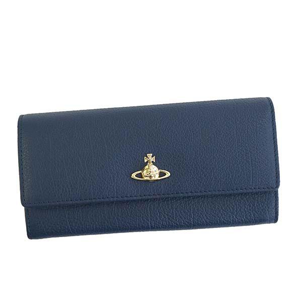 ヴィヴィアン ウエストウッド Vivienne Westwood 二つ折り長財布 ネイビーブルー BALMORAL 51060022-40212-K401【ウォレット 牛革 本革 レザー】【Luxury Brand Selection】