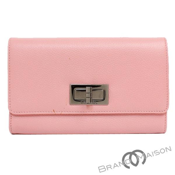 Aランク シャネル 二つ折り 財布 A29288 2.55 ピンク レディース CHANEL シャネル ウォレット レザー wallet pink 【中古】