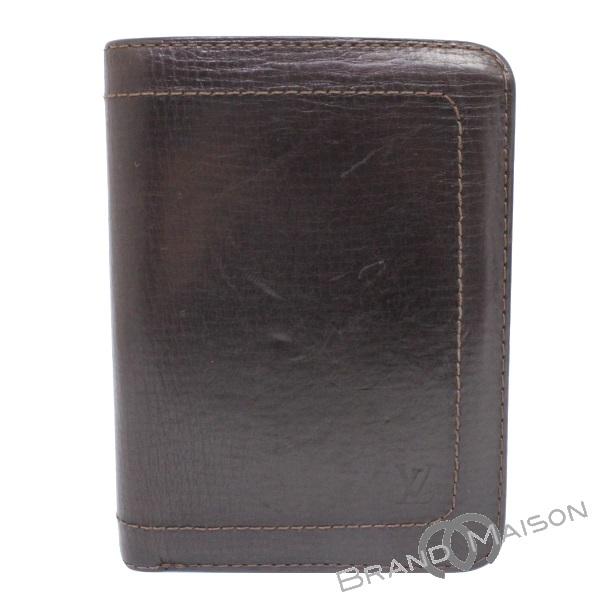 Bランク ルイ・ヴィトン ポルト・バルールビエ12カルトクレディ パスポートケース カードケース M92076 ユタ カフェ ブラウン LOUIS VUITTON 財布 メンズ レディース brown 【中古】