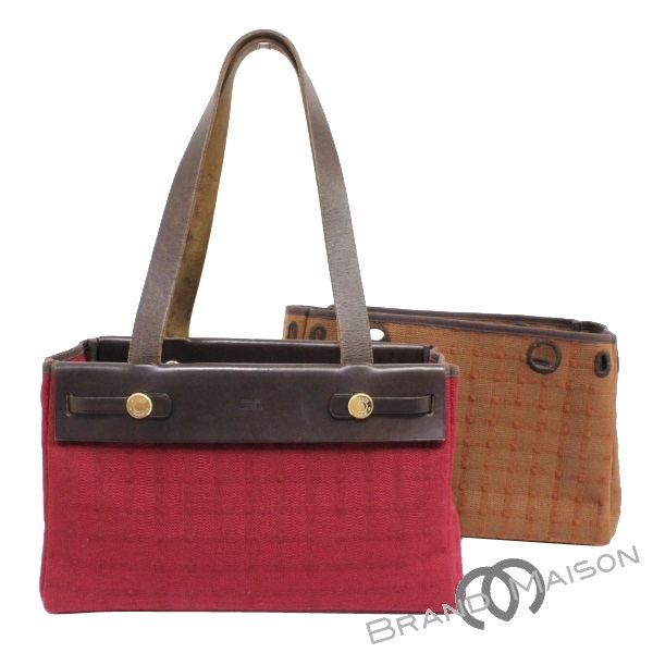 f26d3346ba83 B rank Hermes yell bag hippopotamuses PM tote bag H carved seal brown red  HERMES handbag Lady's brown red