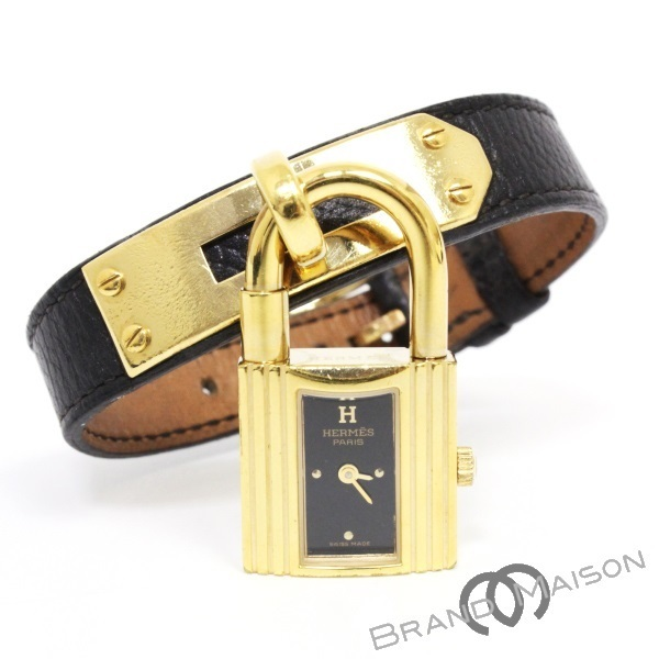 Bランク エルメス ケリーウォッチ 腕時計 ブレスレット A刻印 クシュベル ブラック レディースウォッチ アクセサリー HERMES 【中古】