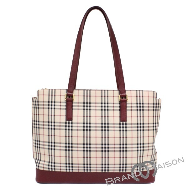 8ad13e560d4e AB rank Burberry tote bag leather Novacek beige Bordeaux BURBERRY LONDON Lady's  men beige bordeaux ...
