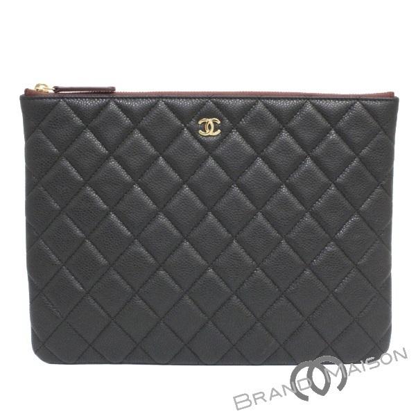 0e2477c1940 Like-new Chanel clutch bag A82545 caviar skin black CHANEL black ...