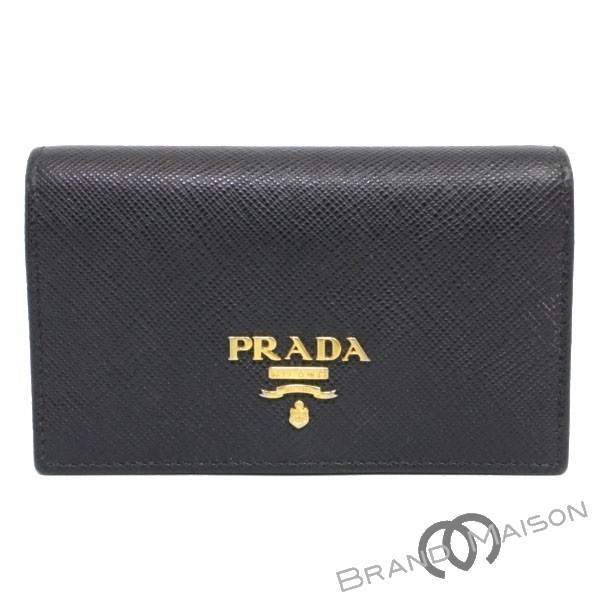 Bランク プラダ カードケース 名刺入れ 1MC122 ブラック レディース PRADA NERO Black 【中古】