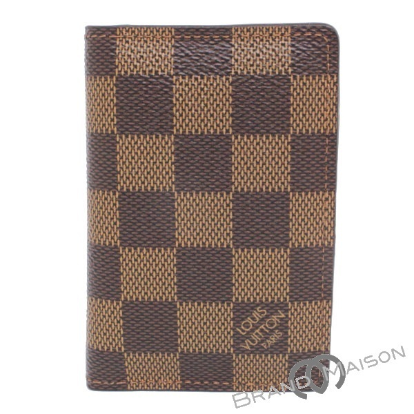 ABランク ルイ・ヴィトン ポケット・オーガナイザー N63145 ダミエ カードケース 名刺入れ メンズ LOUIS VUITTON brown 【中古】