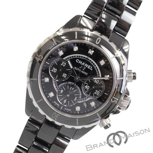 Aランク シャネル J12 ブラックセラミック H2419 41mm 9Pダイヤ ダイヤモンド 腕時計 CHANEL メンズウォッチ 自動巻き black 【中古】