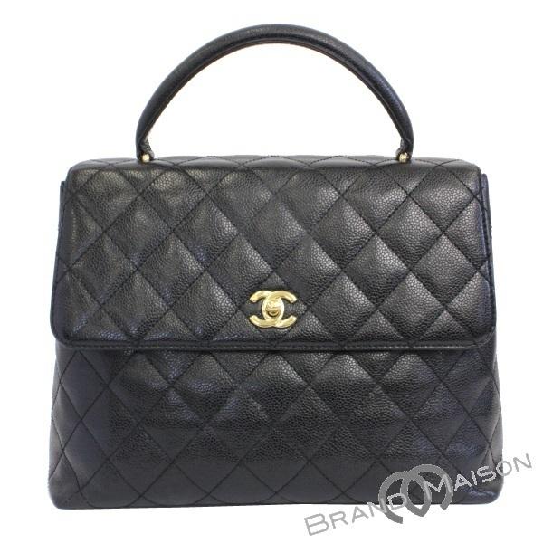 a039c1cbc59c B rank Chanel handbag Kelly type caviar skin black CHANEL Lady's black ...