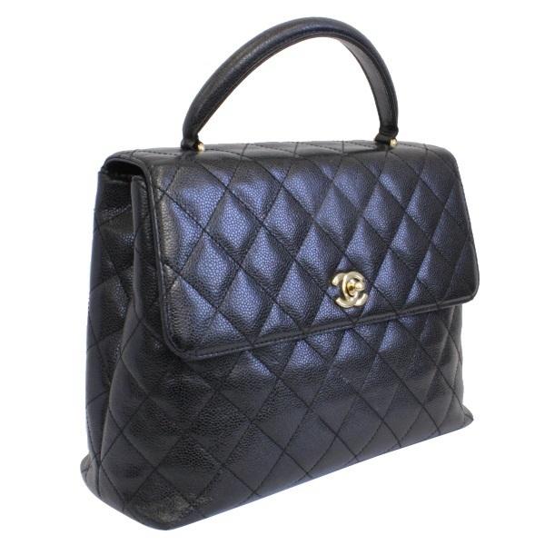 140f3d5363e9 ... B rank Chanel handbag Kelly type caviar skin black CHANEL Lady's black  ...