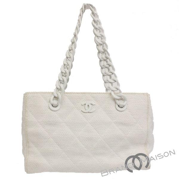 ee7b91129c35 B rank Chanel chain tote bag white here mark matelasse shoulder bag Lady's  CHANEL white