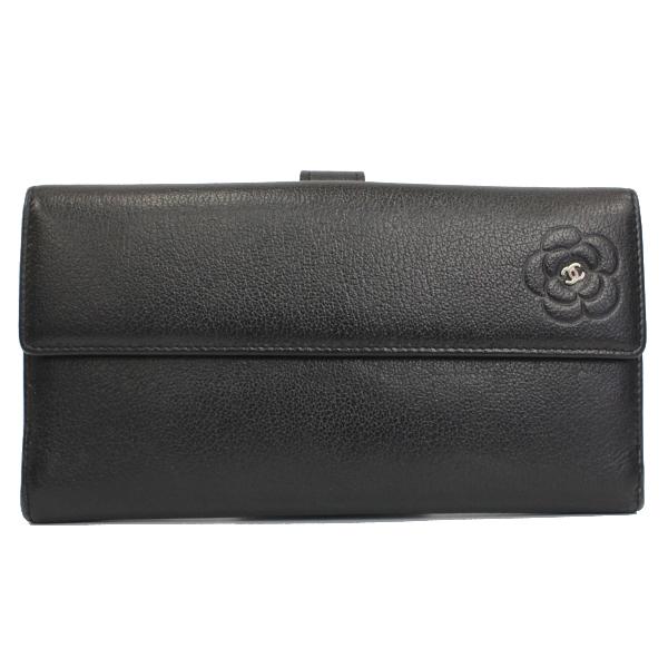 Bランク シャネル Wホック長財布 カメリア A46509 ブラック CHANEL レディース black 【中古】