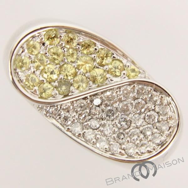 新品同様 ジュエリー イエローサファイヤリング ダイヤモンド K18WG 13号 指輪 レディース アクセサリー ホワイトゴールド 【中古】