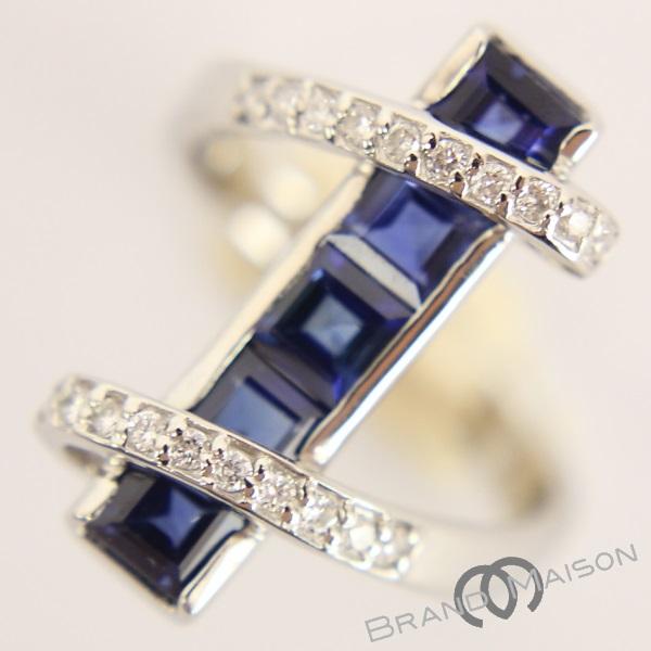 新品同様 ジュエリー サファイヤリング ダイヤモンド Pt900 10.5号 8.2g 指輪 レディース アクセサリー プラチナ 【中古】