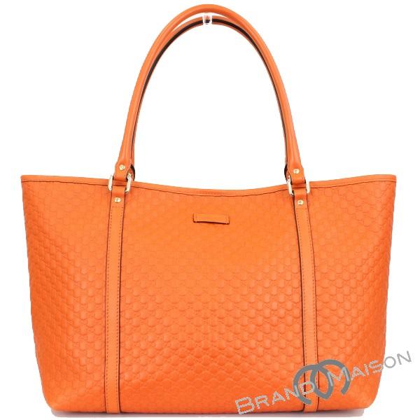 Aランク グッチ トートバッグ 449647 マイクログッチシマ オレンジ GUCCI レディース orange 【中古】