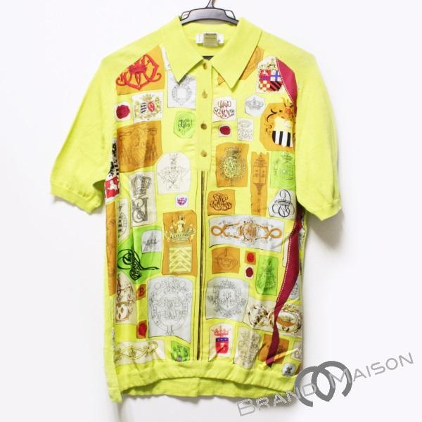 190c26c37496a6 B rank Hermes short sleeves shirt tops silk cotton men yellow Serie button  HERMES